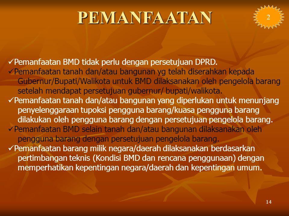 14 Pemanfaatan BMD tidak perlu dengan persetujuan DPRD. Pemanfaatan tanah dan/atau bangunan yg telah diserahkan kepada Gubernur/Bupati/Walikota untuk