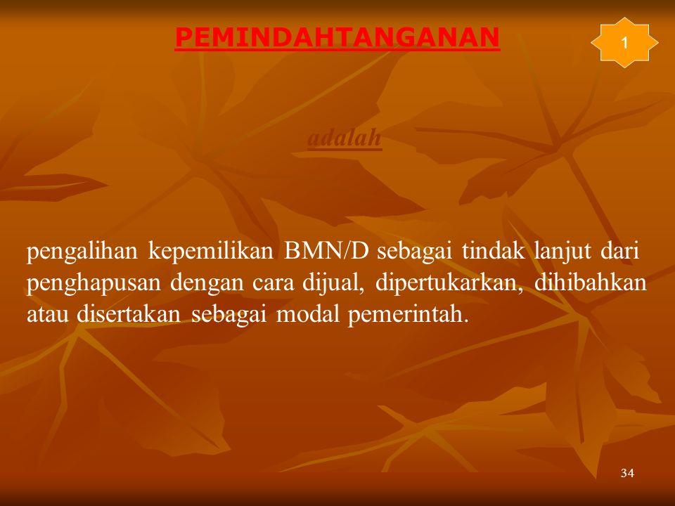 34 adalah pengalihan kepemilikan BMN/D sebagai tindak lanjut dari penghapusan dengan cara dijual, dipertukarkan, dihibahkan atau disertakan sebagai mo