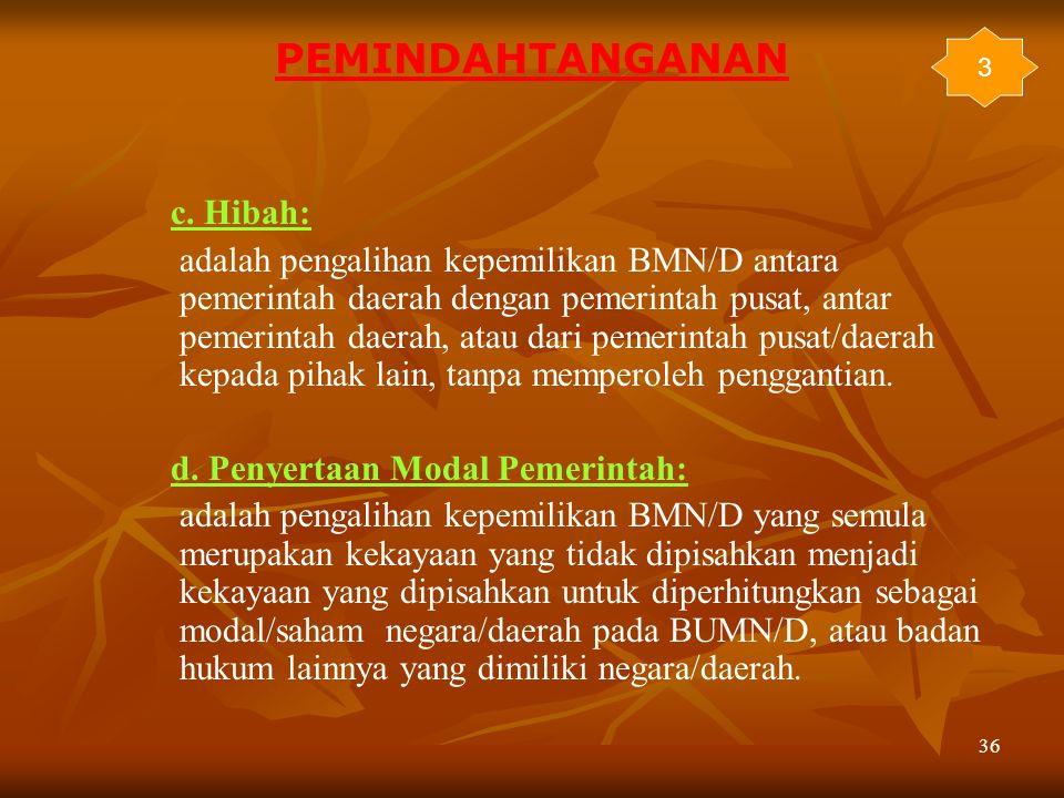 36 c. Hibah: adalah pengalihan kepemilikan BMN/D antara pemerintah daerah dengan pemerintah pusat, antar pemerintah daerah, atau dari pemerintah pusat