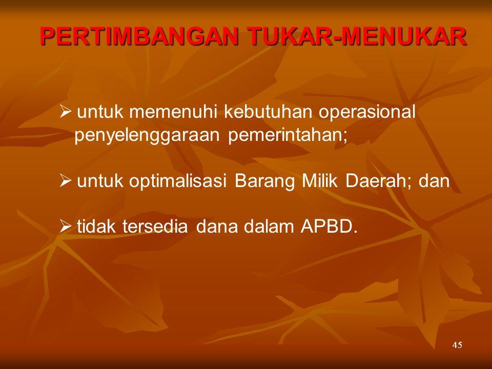 45  untuk memenuhi kebutuhan operasional penyelenggaraan pemerintahan;  untuk optimalisasi Barang Milik Daerah; dan  tidak tersedia dana dalam APBD