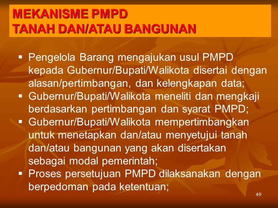 49  Pengelola Barang mengajukan usul PMPD kepada Gubernur/Bupati/Walikota disertai dengan alasan/pertimbangan, dan kelengkapan data;  Gubernur/Bupat