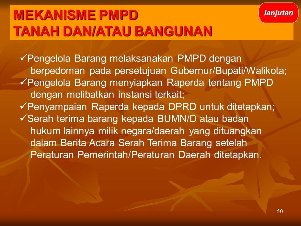 50 Pengelola Barang melaksanakan PMPD dengan berpedoman pada persetujuan Gubernur/Bupati/Walikota; Pengelola Barang menyiapkan Raperda tentang PMPD de