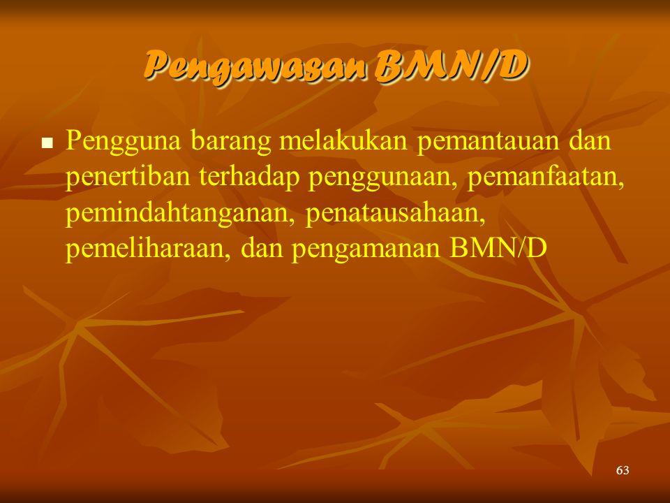 63 Pengawasan BMN/D Pengguna barang melakukan pemantauan dan penertiban terhadap penggunaan, pemanfaatan, pemindahtanganan, penatausahaan, pemeliharaa