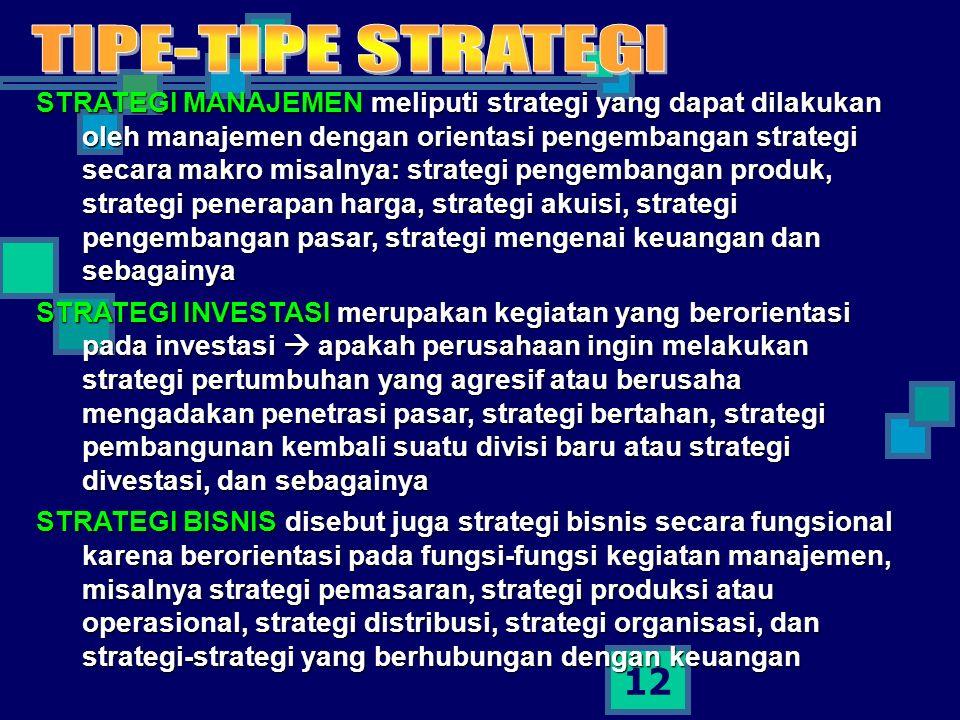 12 STRATEGI MANAJEMEN meliputi strategi yang dapat dilakukan oleh manajemen dengan orientasi pengembangan strategi secara makro misalnya: strategi pengembangan produk, strategi penerapan harga, strategi akuisi, strategi pengembangan pasar, strategi mengenai keuangan dan sebagainya STRATEGI INVESTASI merupakan kegiatan yang berorientasi pada investasi  apakah perusahaan ingin melakukan strategi pertumbuhan yang agresif atau berusaha mengadakan penetrasi pasar, strategi bertahan, strategi pembangunan kembali suatu divisi baru atau strategi divestasi, dan sebagainya STRATEGI BISNIS disebut juga strategi bisnis secara fungsional karena berorientasi pada fungsi-fungsi kegiatan manajemen, misalnya strategi pemasaran, strategi produksi atau operasional, strategi distribusi, strategi organisasi, dan strategi-strategi yang berhubungan dengan keuangan