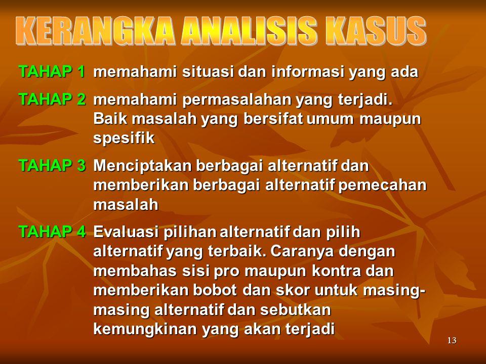 13 TAHAP 1 memahami situasi dan informasi yang ada TAHAP 2 memahami permasalahan yang terjadi.