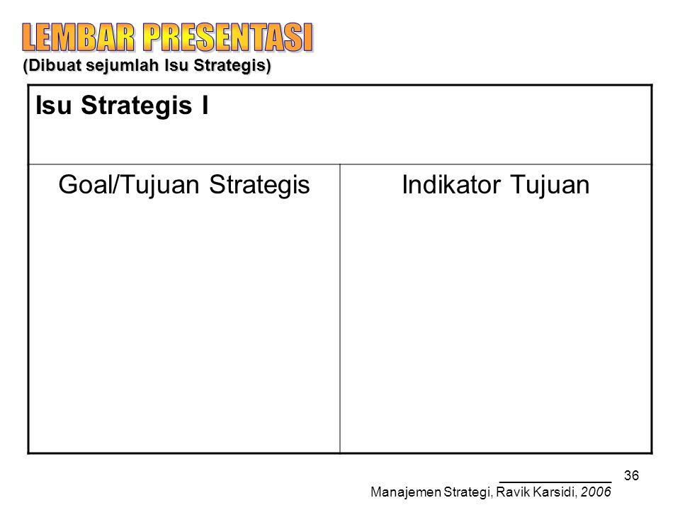 _______________ Manajemen Strategi, Ravik Karsidi, 2006 36 (Dibuat sejumlah Isu Strategis) Isu Strategis I Goal/Tujuan StrategisIndikator Tujuan