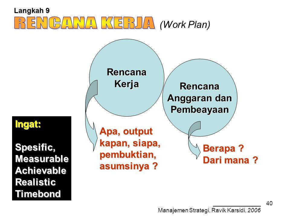 _______________ Manajemen Strategi, Ravik Karsidi, 2006 40 Langkah 9 (Work Plan) RencanaKerja Rencana Anggaran dan Pembeayaan Berapa .