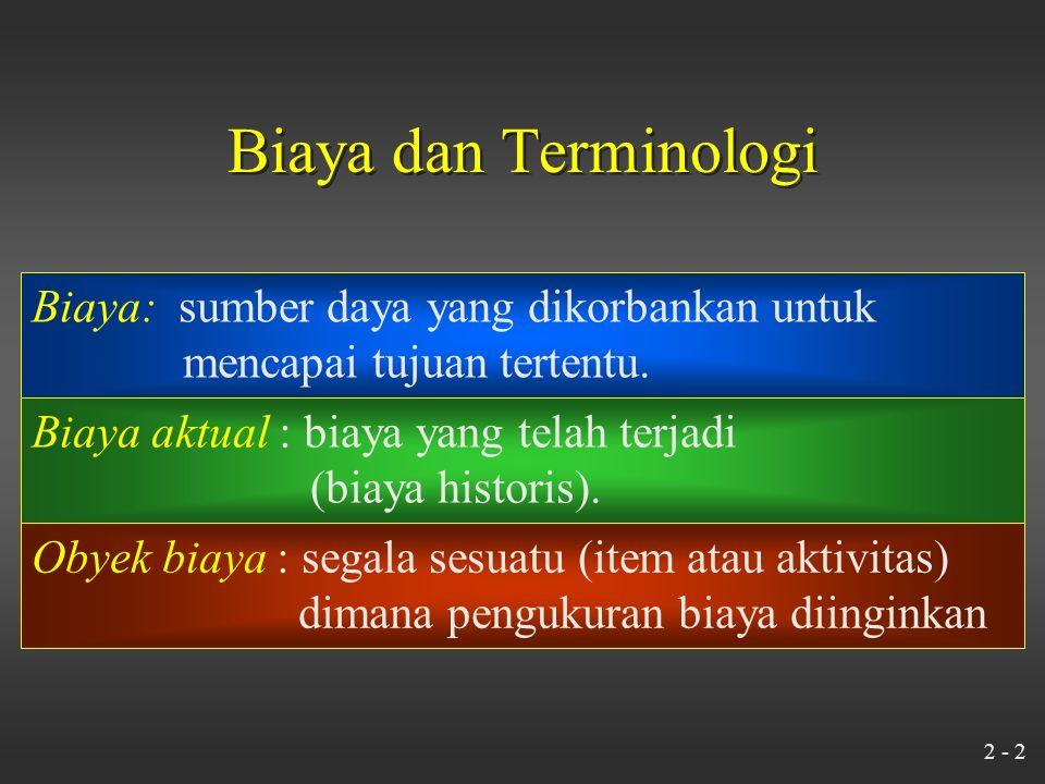 2 - 2 Biaya dan Terminologi Biaya: sumber daya yang dikorbankan untuk mencapai tujuan tertentu.