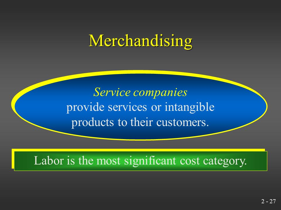 2 - 26 Merchandising Merchandising companies purchase and then sell tangible products without changing their basic form. Merchandising companies purch