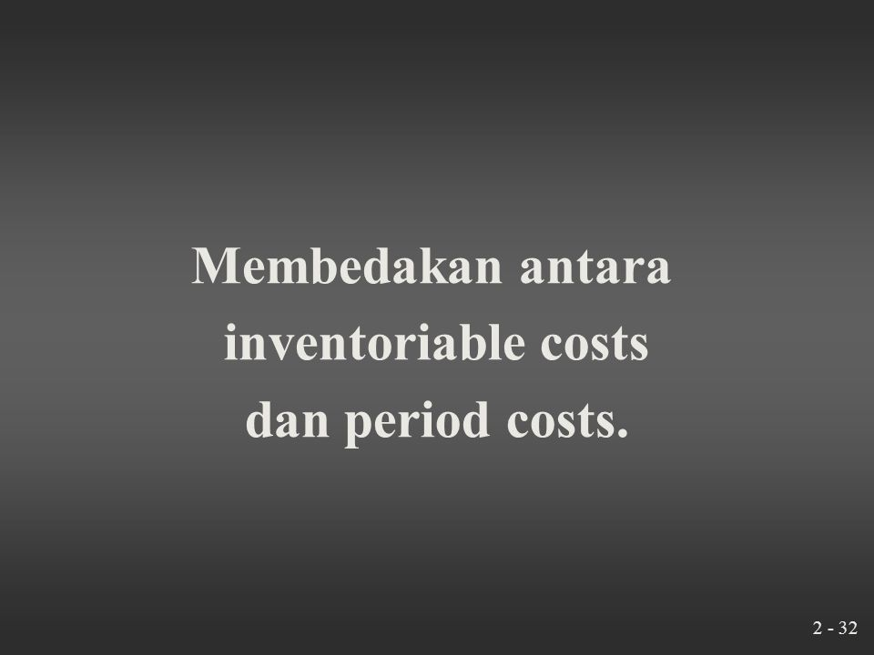 2 - 31 Klasifikasi Biaya Manufaktur (Manufacturing Costs) Direct materials costs Direct manufacturing labor costs Indirect manufacturing costs