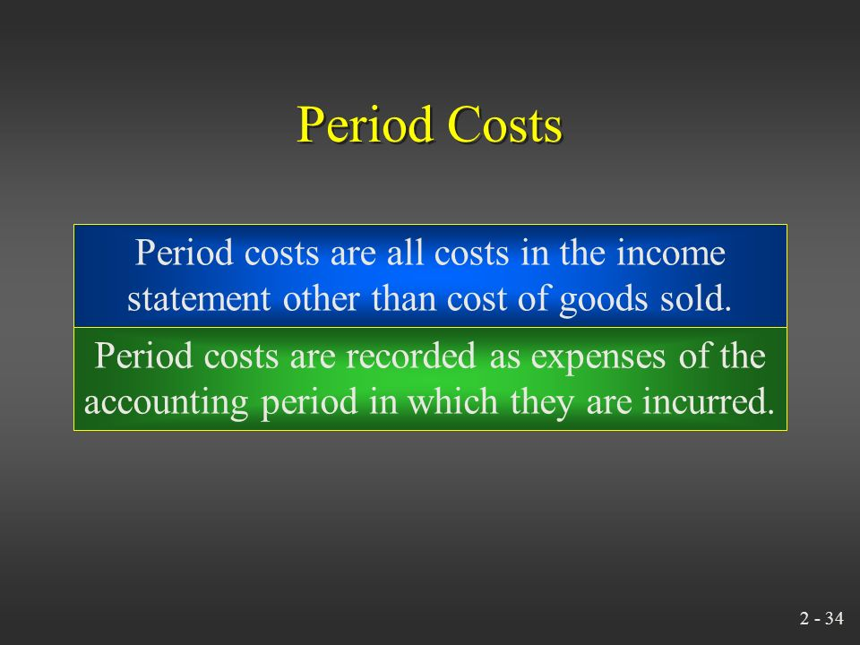 2 - 33 Inventoriable Costs Inventoriable costs (assets)… become cost of goods sold… after a sale takes place.