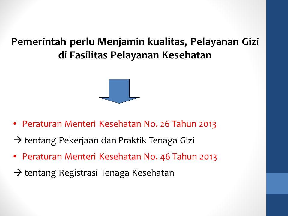 Peraturan Menteri Kesehatan No. 26 Tahun 2013  tentang Pekerjaan dan Praktik Tenaga Gizi Peraturan Menteri Kesehatan No. 46 Tahun 2013  tentang Regi