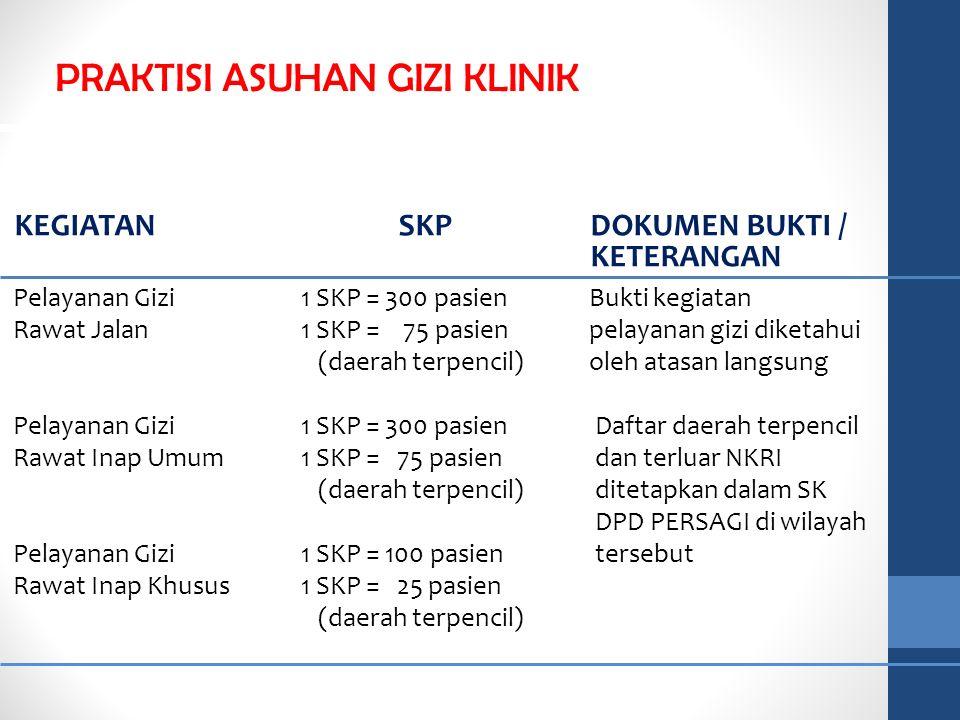 Pelayanan Gizi1 SKP = 300 pasien Bukti kegiatan Rawat Jalan1 SKP = 75 pasienpelayanan gizi diketahui (daerah terpencil) oleh atasan langsung Pelayanan