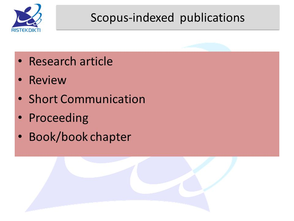 Scopus-indexed publications Research article Review Short Communication Proceeding Book/book chapter