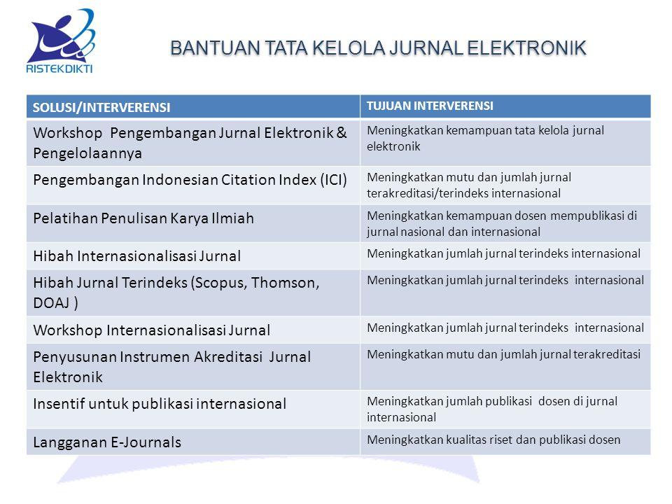 BANTUAN TATA KELOLA JURNAL ELEKTRONIK SOLUSI/INTERVERENSI TUJUAN INTERVERENSI Workshop Pengembangan Jurnal Elektronik & Pengelolaannya Meningkatkan kemampuan tata kelola jurnal elektronik Pengembangan Indonesian Citation Index (ICI) Meningkatkan mutu dan jumlah jurnal terakreditasi/terindeks internasional Pelatihan Penulisan Karya Ilmiah Meningkatkan kemampuan dosen mempublikasi di jurnal nasional dan internasional Hibah Internasionalisasi Jurnal Meningkatkan jumlah jurnal terindeks internasional Hibah Jurnal Terindeks (Scopus, Thomson, DOAJ ) Meningkatkan jumlah jurnal terindeks internasional Workshop Internasionalisasi Jurnal Meningkatkan jumlah jurnal terindeks internasional Penyusunan Instrumen Akreditasi Jurnal Elektronik Meningkatkan mutu dan jumlah jurnal terakreditasi Insentif untuk publikasi internasional Meningkatkan jumlah publikasi dosen di jurnal internasional Langganan E-Journals Meningkatkan kualitas riset dan publikasi dosen