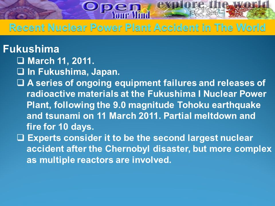 Recent Nuclear Power Plant Accident in The World Fukushima  March 11, 2011.
