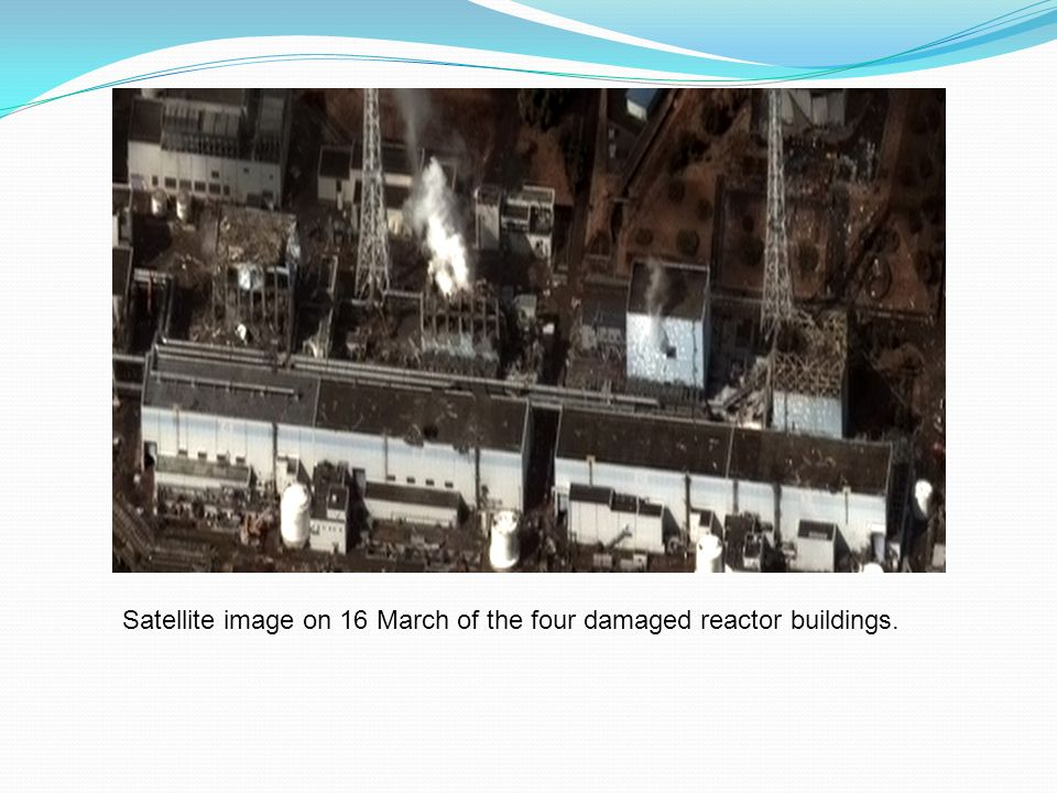 Satellite image on 16 March of the four damaged reactor buildings.