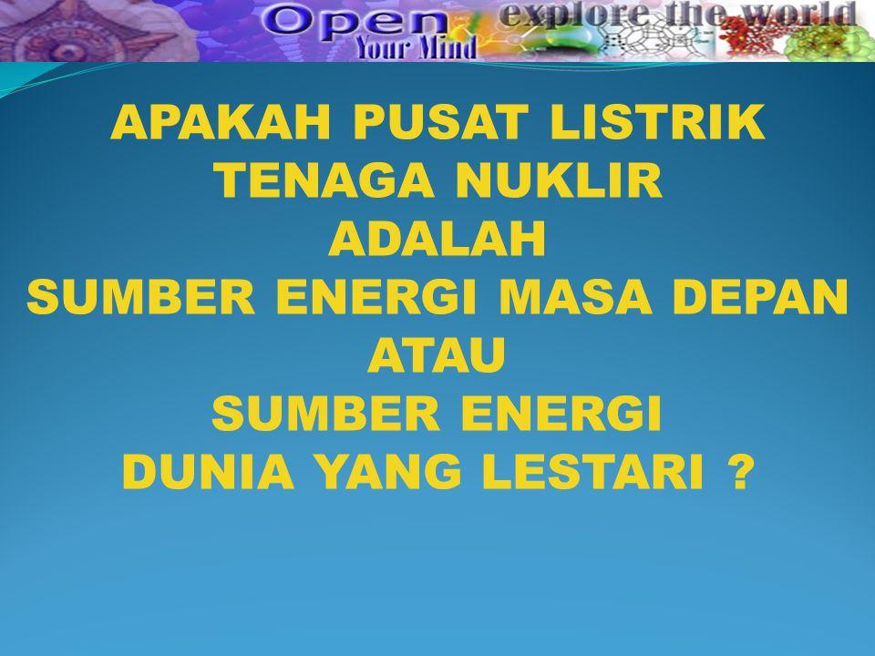 APAKAH PUSAT LISTRIK TENAGA NUKLIR ADALAH SUMBER ENERGI MASA DEPAN ATAU SUMBER ENERGI DUNIA YANG LESTARI ?