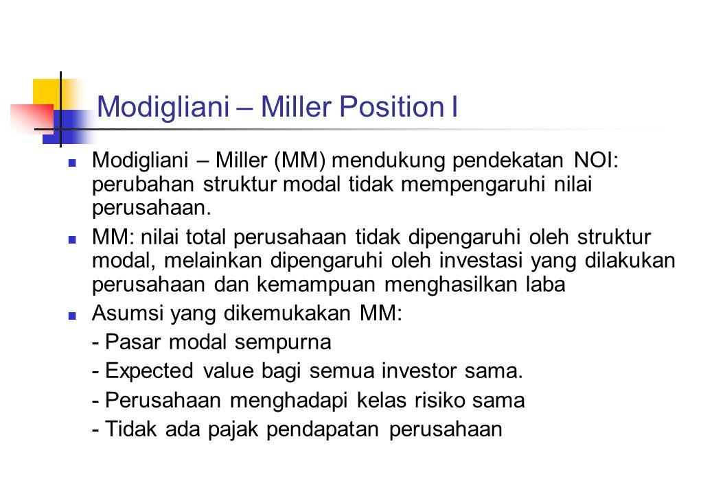 Modigliani – Miller Position I Modigliani – Miller (MM) mendukung pendekatan NOI: perubahan struktur modal tidak mempengaruhi nilai perusahaan. MM: ni