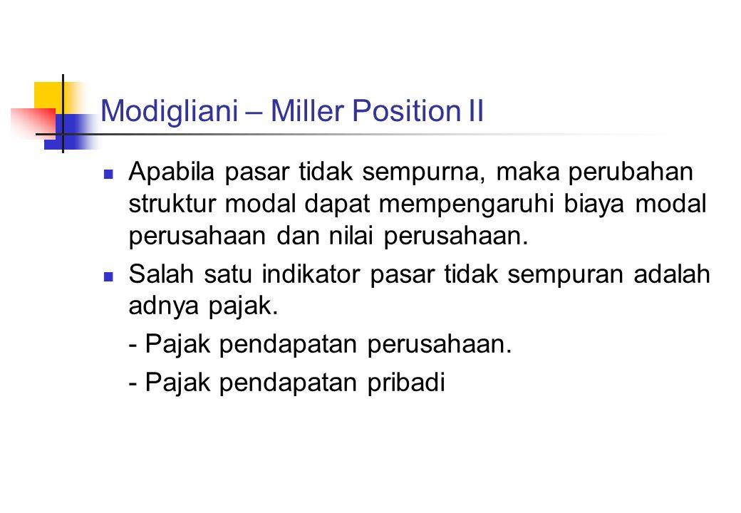 Modigliani – Miller Position II Apabila pasar tidak sempurna, maka perubahan struktur modal dapat mempengaruhi biaya modal perusahaan dan nilai perusa