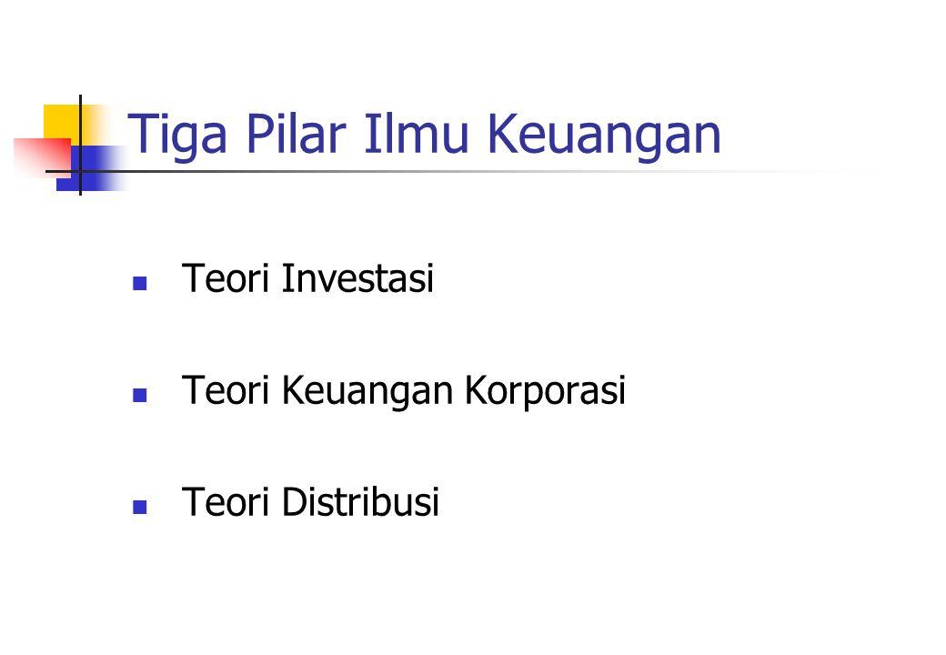 Tiga Pilar Ilmu Keuangan Teori Investasi Teori Keuangan Korporasi Teori Distribusi