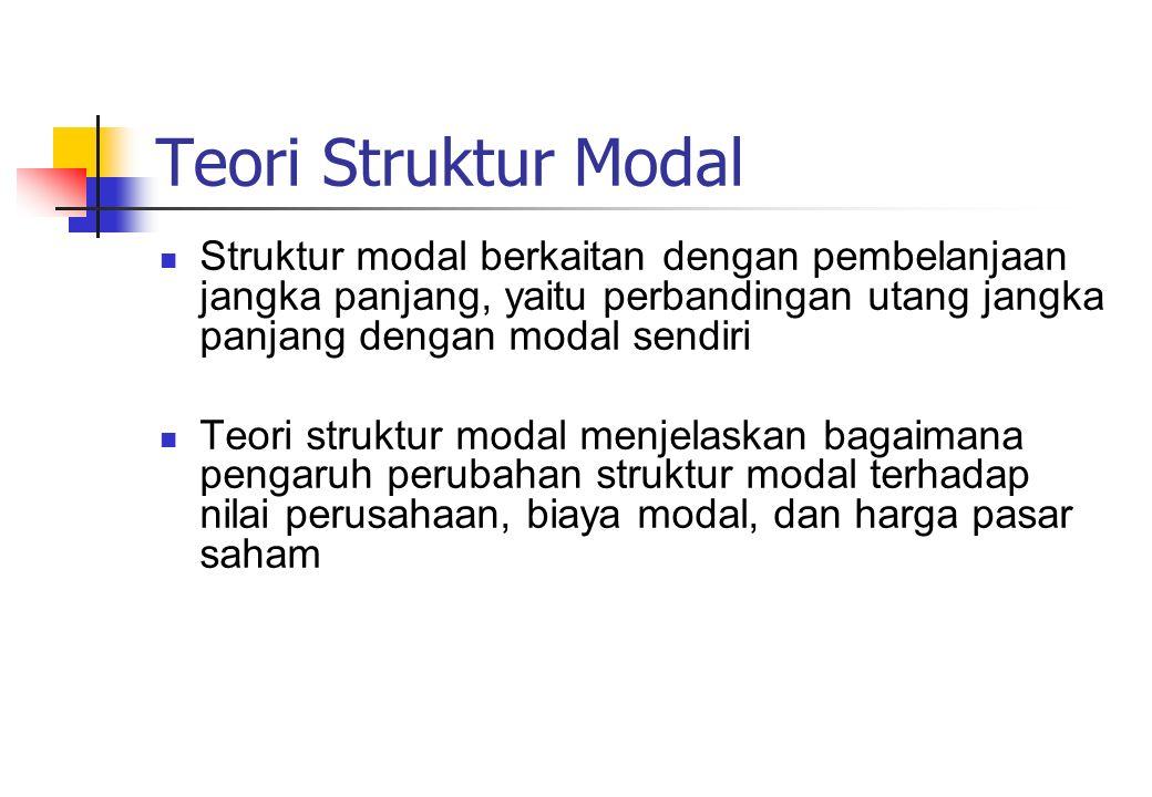 Teori Struktur Modal Struktur modal berkaitan dengan pembelanjaan jangka panjang, yaitu perbandingan utang jangka panjang dengan modal sendiri Teori s