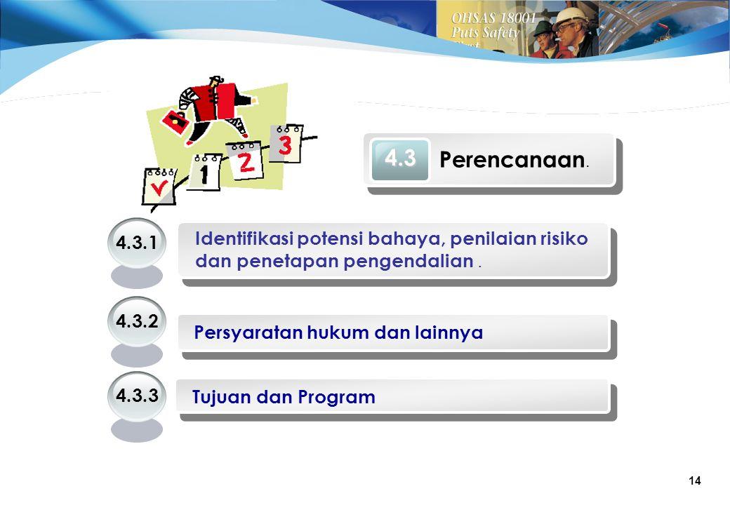 14 4.3 Perencanaan.Identifikasi potensi bahaya, penilaian risiko dan penetapan pengendalian.