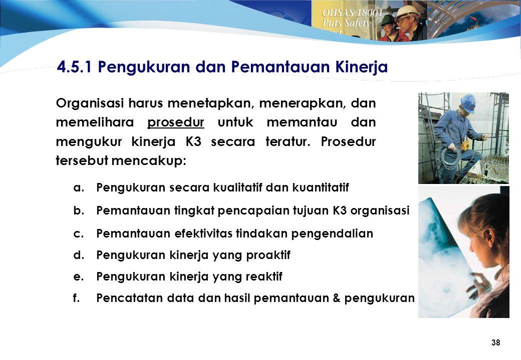 38 Organisasi harus menetapkan, menerapkan, dan memelihara prosedur untuk memantau dan mengukur kinerja K3 secara teratur.
