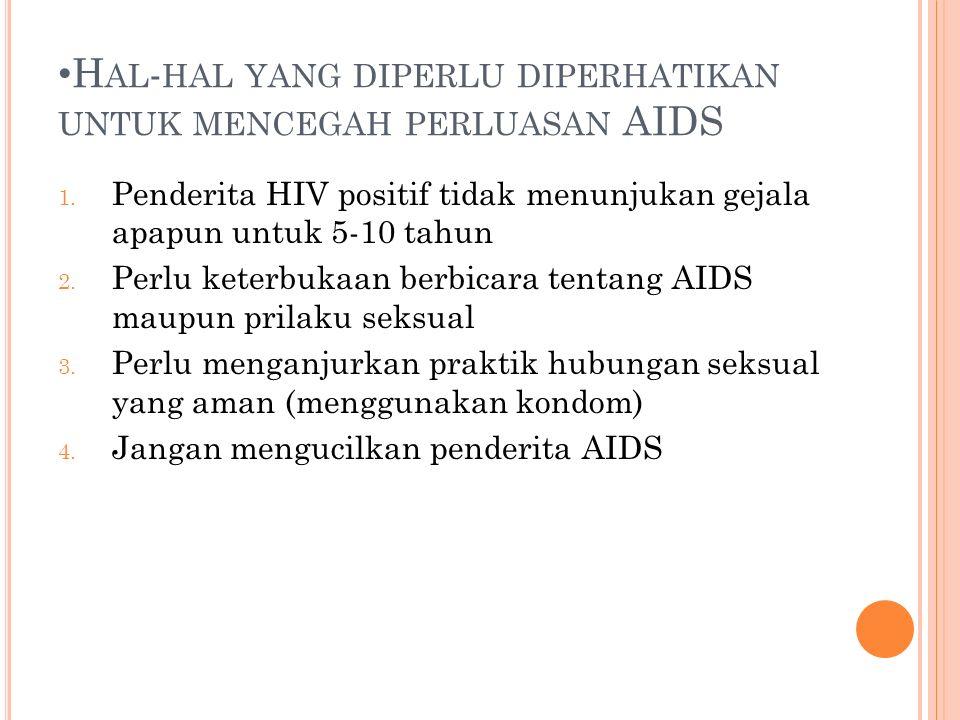 H AL - HAL YANG DIPERLU DIPERHATIKAN UNTUK MENCEGAH PERLUASAN AIDS 1.