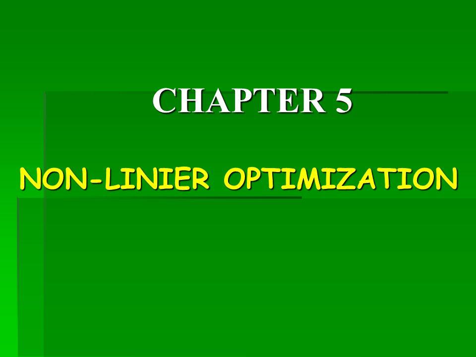 CHAPTER 5 NON-LINIER OPTIMIZATION