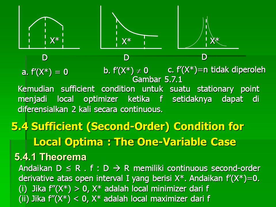 a. f'(X*) = 0 b. f'(X*)  0 c. f'(X*)=n tidak diperoleh Gambar 5.7.1 Kemudian sufficient condition untuk suatu stationary point menjadi local optimize