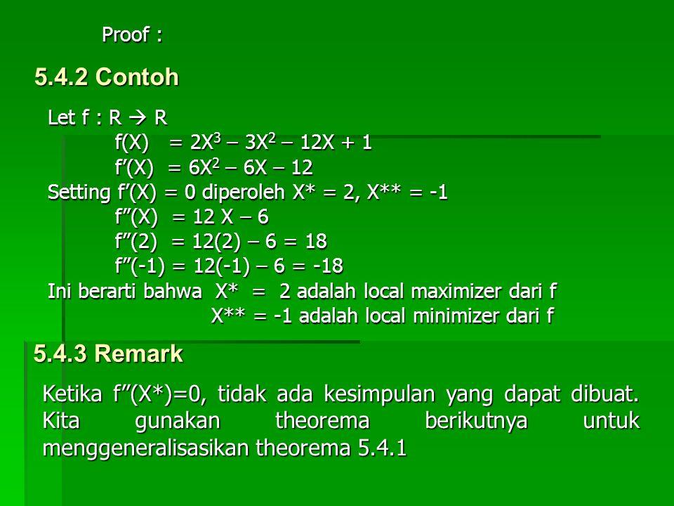 5.4.2 Contoh Let f : R  R f(X) = 2X 3 – 3X 2 – 12X + 1 f(X) = 2X 3 – 3X 2 – 12X + 1 f'(X) = 6X 2 – 6X – 12 f'(X) = 6X 2 – 6X – 12 Setting f'(X) = 0 d
