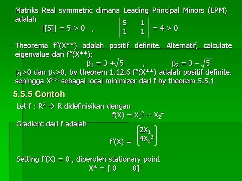 "Matriks Real symmetric dimana Leading Principal Minors (LPM) adalah |[5]| = 5 > 0, = 4 > 0 |[5]| = 5 > 0, = 4 > 0 5 1 1 1 Theorema f""(X**) adalah posi"