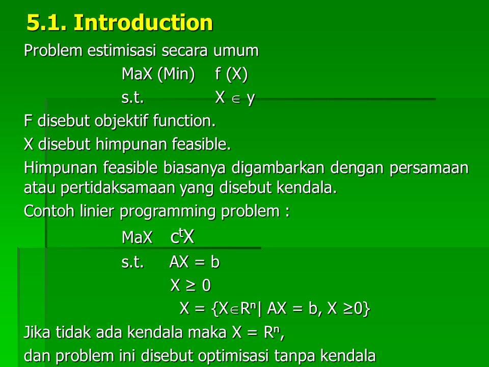 5.1. Introduction Problem estimisasi secara umum MaX (Min) f (X) s.t. X  y s.t. X  y F disebut objektif function. X disebut himpunan feasible. Himpu