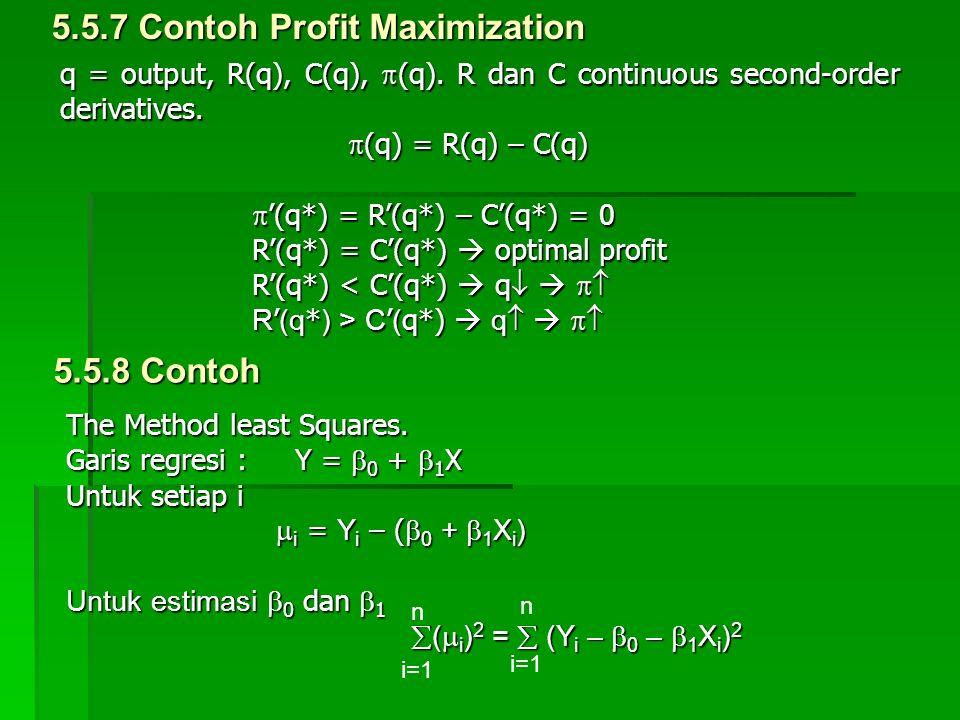5.5.7 Contoh Profit Maximization q = output, R(q), C(q),  (q). R dan C continuous second-order derivatives.  (q) = R(q) – C(q)  '(q*) = R'(q*) – C'