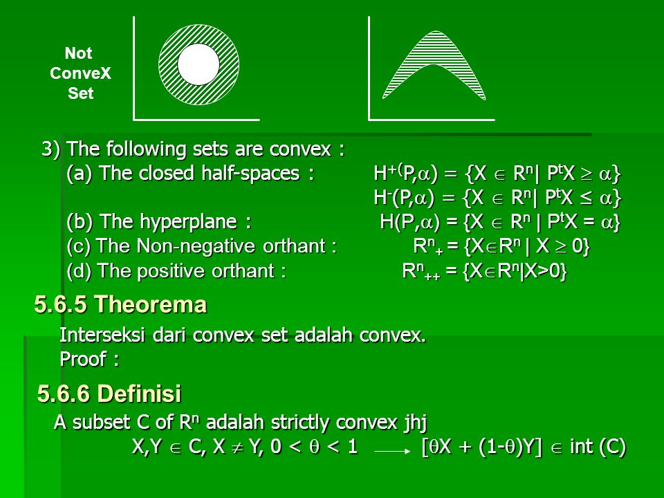 Not ConveX Set 3)The following sets are convex : (a) The closed half-spaces : H +( P,  ) = {X  R n | P t X   } H - (P,  ) = {X  R n | P t X ≤ 