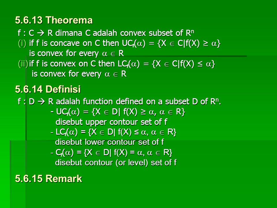 f : C  R dimana C adalah convex subset of R n (i)if f is concave on C then UC(  ) = {X  C|f(X) ≥  } (i)if f is concave on C then UC f (  ) = {X 