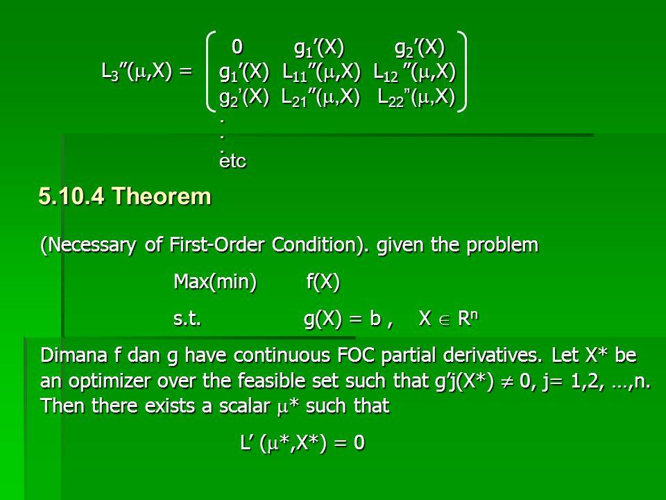 """0 g 1 '(X) g 2 '(X) 0 g 1 '(X) g 2 '(X) g 1 '(X) L 11 """"( ,X) L 12 """"( ,X) g 2 '(X) L 21 """" ( ,X) L 22 """"( ,X)...etc L 3 """"( ,X) = 5.10.4 Theorem (Nec"""