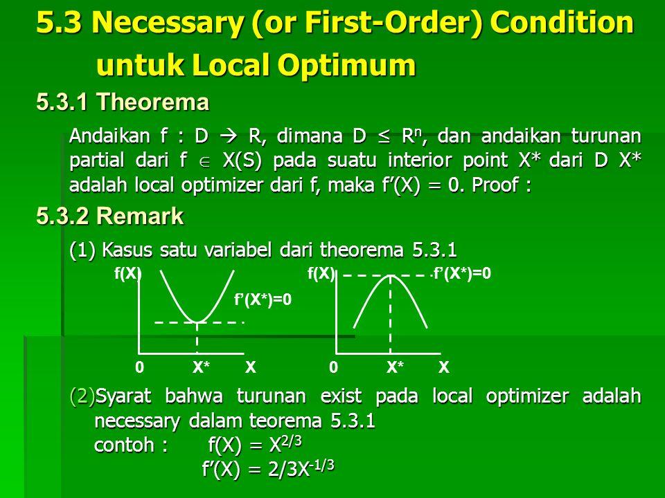 5.3 Necessary (or First-Order) Condition untuk Local Optimum untuk Local Optimum Andaikan f : D  R, dimana D ≤ R n, dan andaikan turunan partial dari