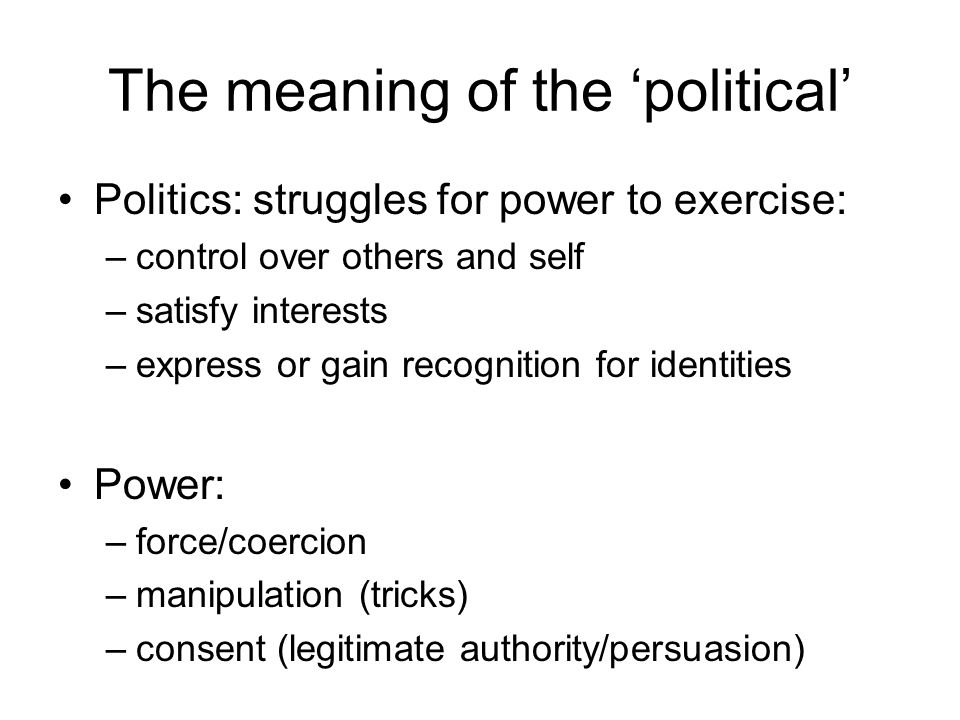 The meaning of the 'political' Politics: struggles for power to exercise: –control over others and self –satisfy interests –express or gain recognitio