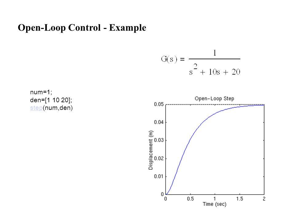 num=1; den=[1 10 20]; stepstep(num,den) Open-Loop Control - Example