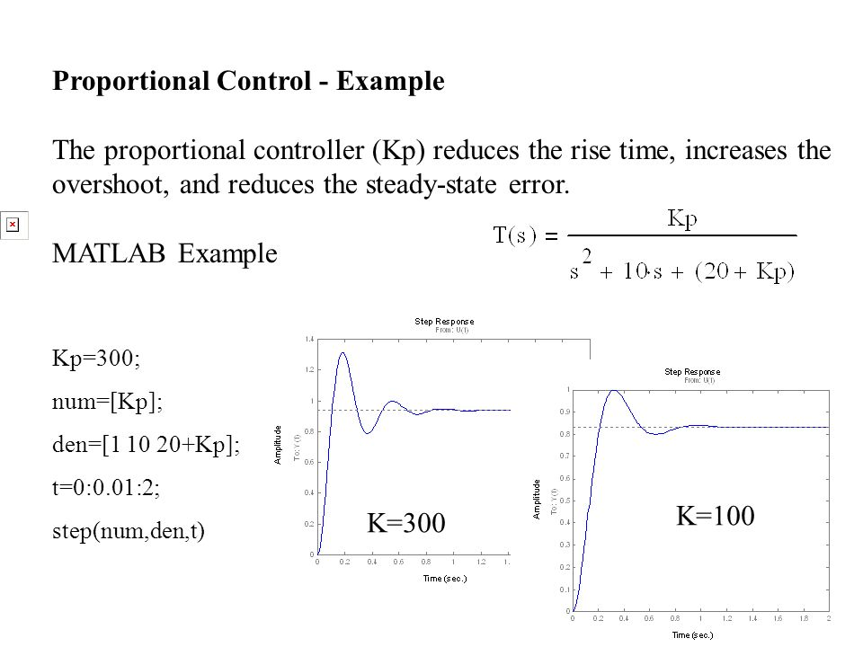 Proportional Control - Example The proportional controller (Kp) reduces the rise time, increases the overshoot, and reduces the steady-state error. MA