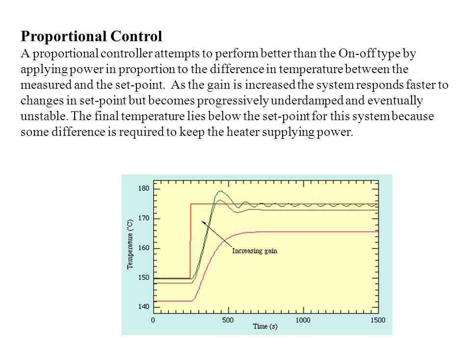 Proportional, Derivative Control The stability and overshoot problems that arise when a proportional controller is used at high gain can be mitigated by adding a term proportional to the time-derivative of the error signal.