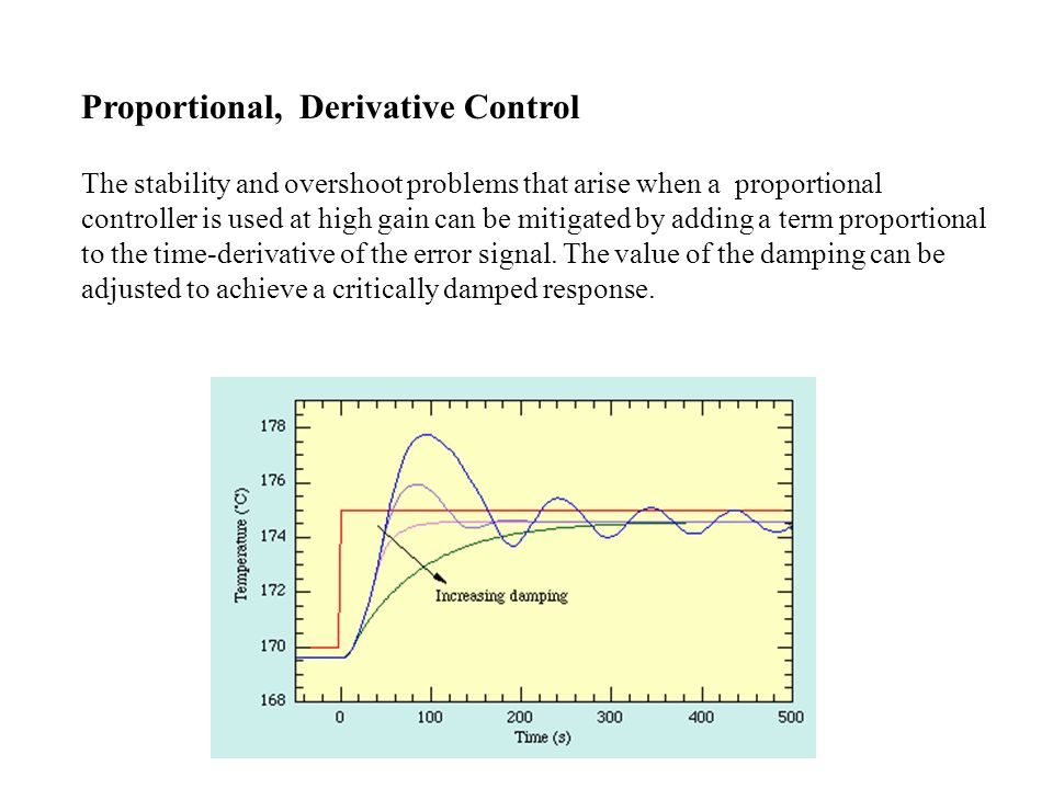 Proportional+Integral+Derivative Control Although PD control deals neatly with the overshoot and ringing problems associated with proportional control it does not cure the problem with the steady-state error.