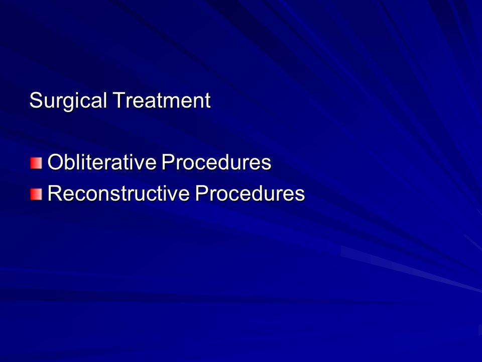Surgical Treatment Obliterative Procedures Reconstructive Procedures