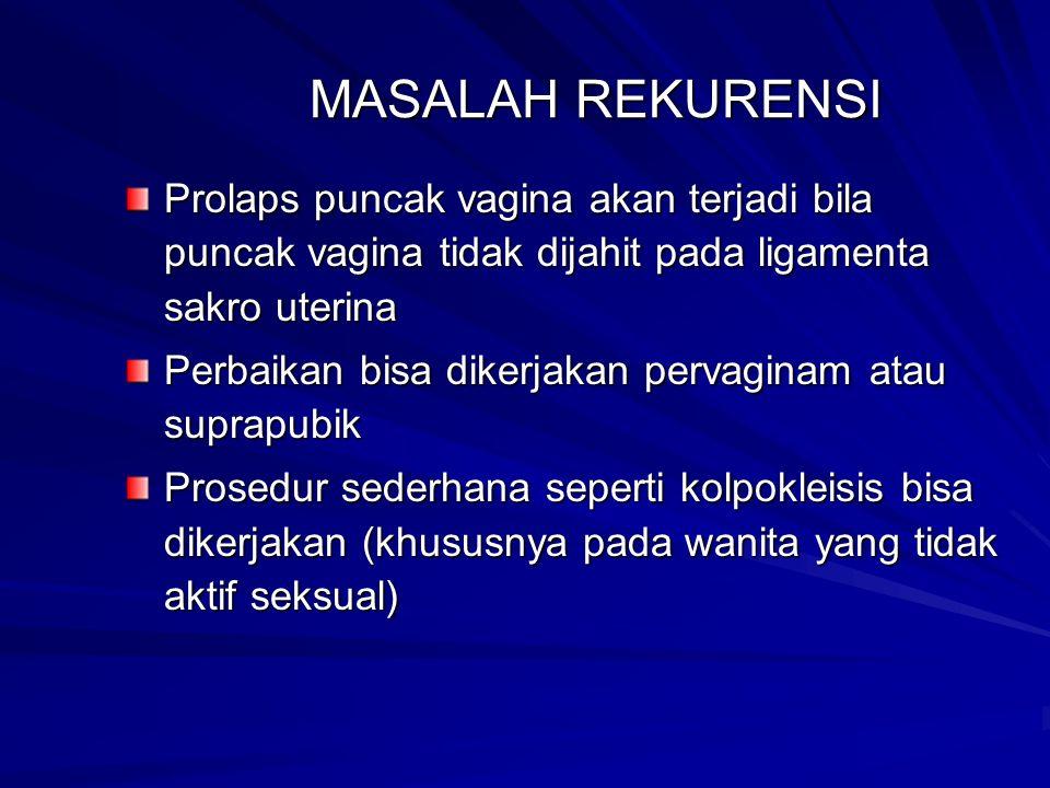 MASALAH REKURENSI Prolaps puncak vagina akan terjadi bila puncak vagina tidak dijahit pada ligamenta sakro uterina Perbaikan bisa dikerjakan pervaginam atau suprapubik Prosedur sederhana seperti kolpokleisis bisa dikerjakan (khususnya pada wanita yang tidak aktif seksual)