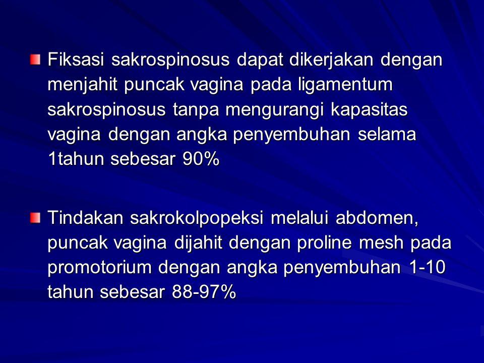 Fiksasi sakrospinosus dapat dikerjakan dengan menjahit puncak vagina pada ligamentum sakrospinosus tanpa mengurangi kapasitas vagina dengan angka penyembuhan selama 1tahun sebesar 90% Tindakan sakrokolpopeksi melalui abdomen, puncak vagina dijahit dengan proline mesh pada promotorium dengan angka penyembuhan 1-10 tahun sebesar 88-97%