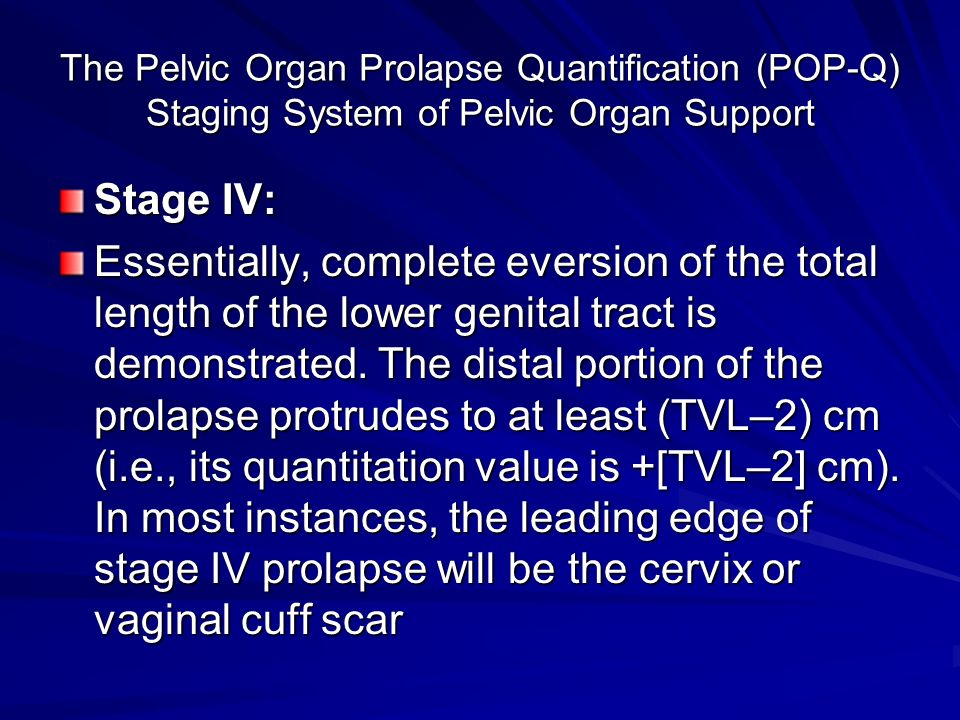 Baden-Walker Halfway System for the Evaluation of Pelvic Organ Prolapse on Physical Examination a Grade 0 Normal position for each respective site Grade 1 Descent halfway to the hymen Grade 2 Descent to the hymen Grade 3 Descent halfway past the hymen Grade 4 Maximum possible descent for each site