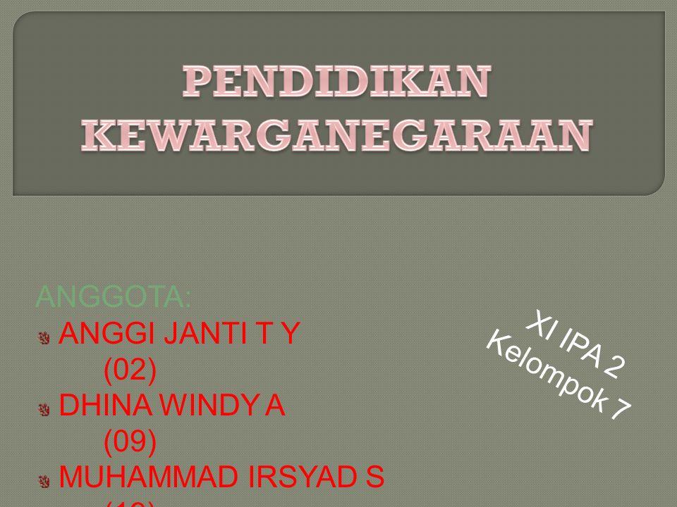 ANGGOTA: ANGGI JANTI T Y (02) DHINA WINDY A (09) MUHAMMAD IRSYAD S (19) ZUHROUL FAUZIATUL U (32) XI IPA 2 Kelompok 7