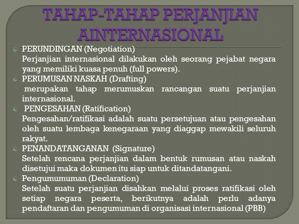  PERUNDINGAN (Negotiation) Perjanjian internasional dilakukan oleh seorang pejabat negara yang memiliki kuasa penuh (full powers).